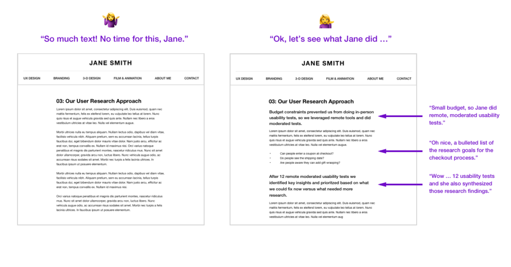 Side by side view of two web pages. At left, the web page a large block of text, all same font size. At right, the page has text that's broken up into small paragraphs, has headlines, and bulleted lists, making it far easier to read.