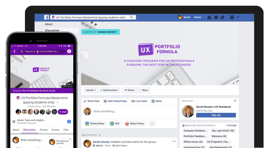 Screenshot of the Facebook group for UX Portfolio Formula