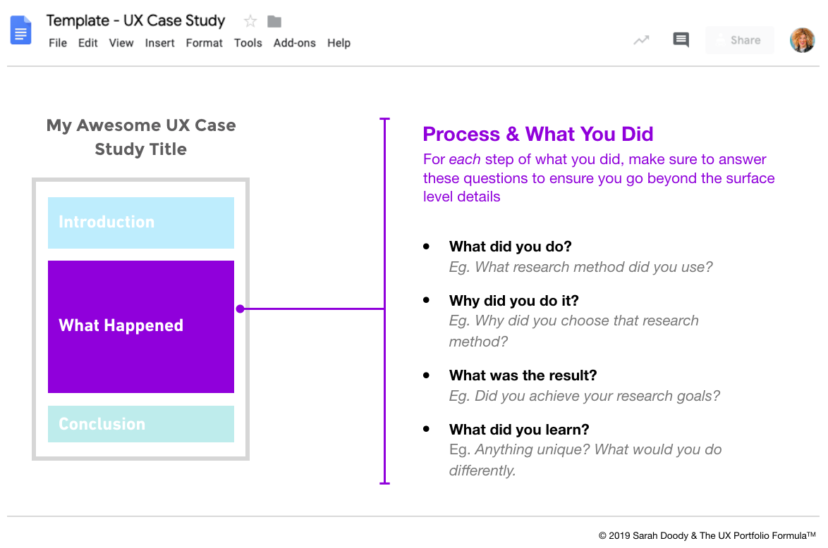 "Screenshot of a Google Doc showing an example ""Process & What You Did"" section of a UX case study"