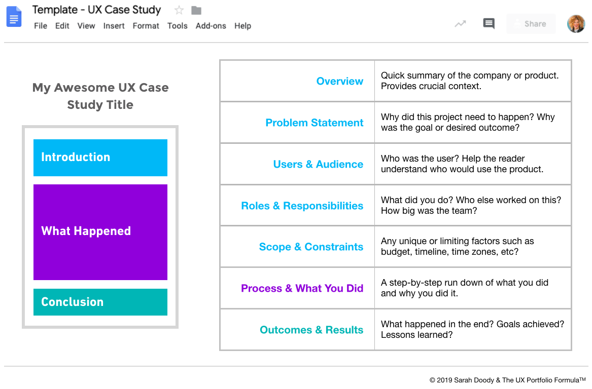 A rectangle divided into 3 sections to show how a UX case study should be divided up: Introduction, Process, and Conclusion
