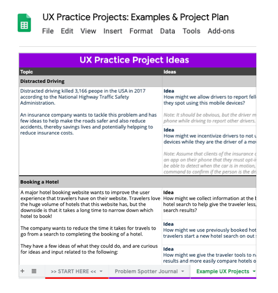 Screenshot of a Google sheet showing a list of some UX practice project ideas