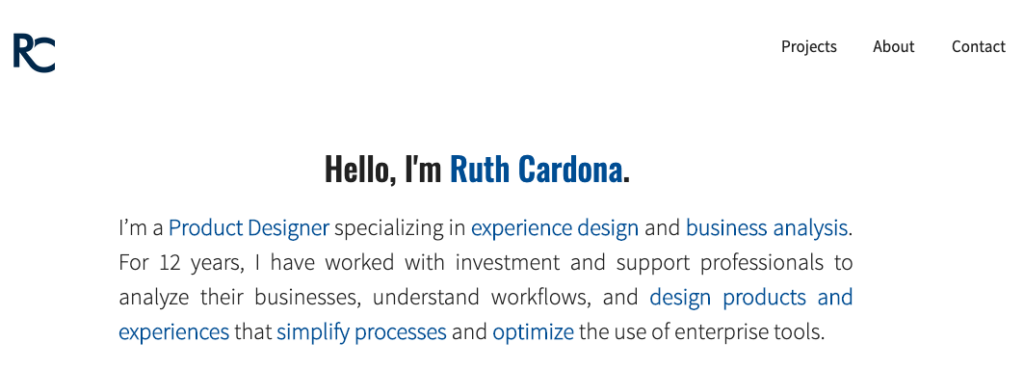 Example about me statement for a UX professional