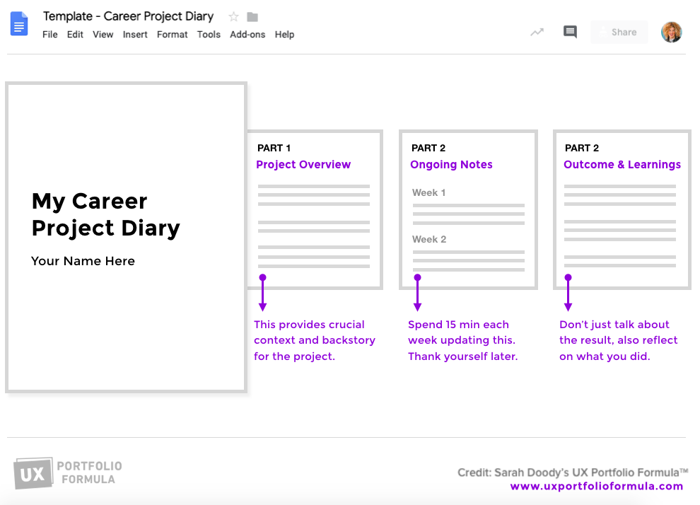 Preview of the Career Project Diary in Google Docs