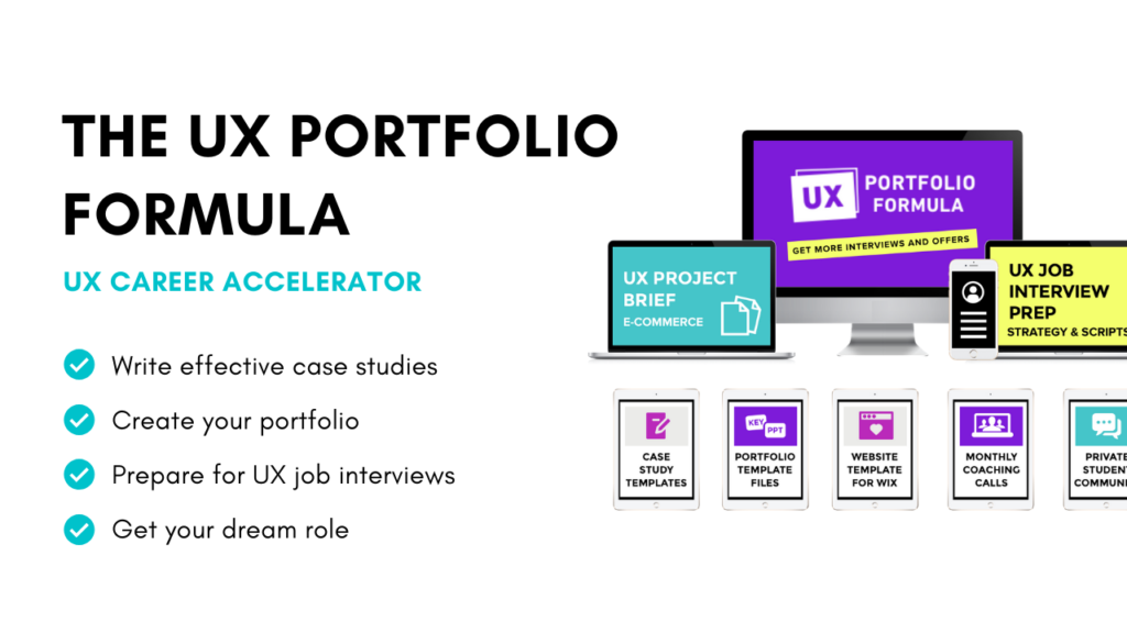 Graphic showing the suite of products inside The UX Portfolio Formula