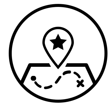 Icon of a map with directional lines to a destination.