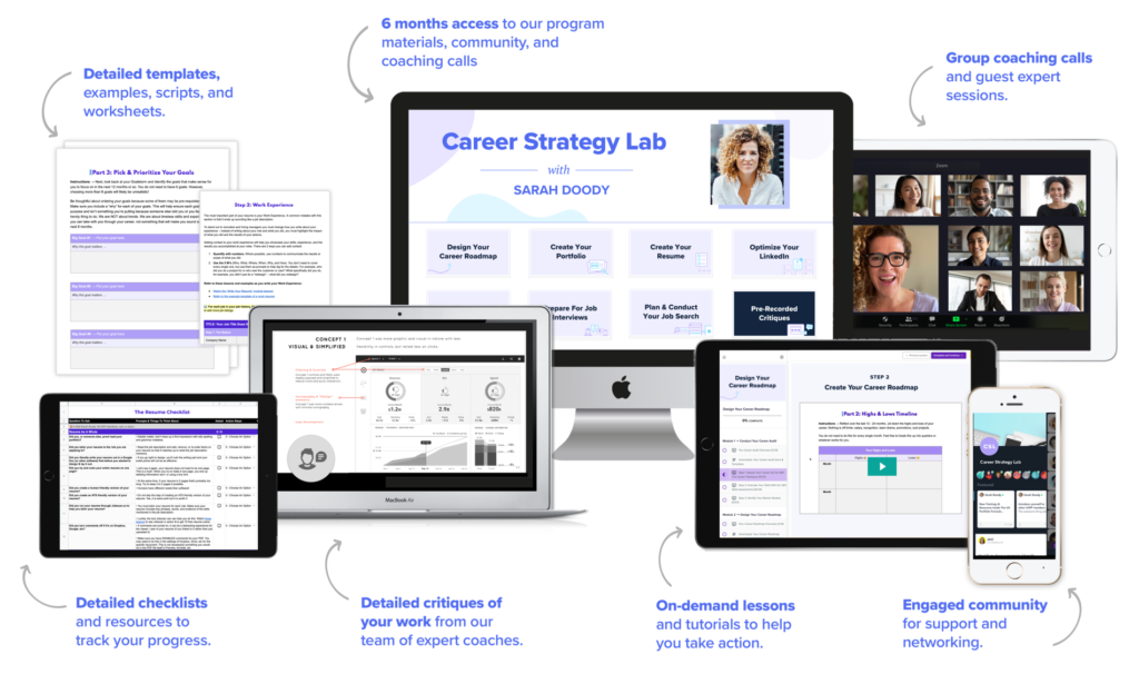 Mockups of the course, templates, and community for Career Strategy Lab