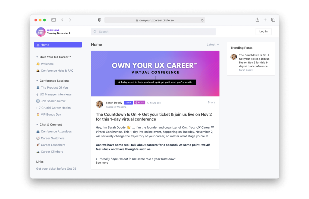 Screenshot of the pop-up community for the Own Your UX Career Virtual Conference