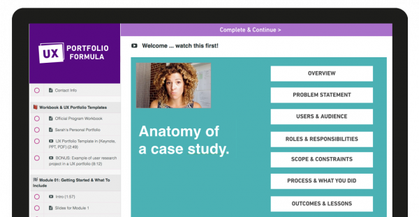 Computer screen showing UX Portfolio Formula curriculum and an example of a lecture video