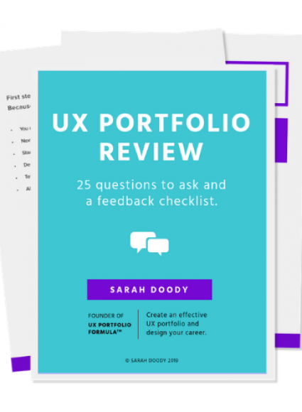 Cover page of a PDF about getting feedback on your UX portfolio
