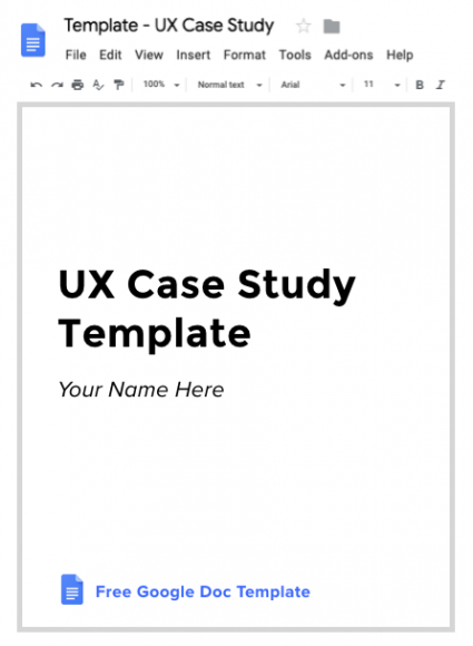 Title page of a UX Case Study document in Google Docs