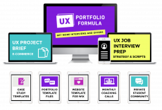 A computer monitor, laptop, ipad, and iphone showing all the resources included in the UX Portfolio Formula including a UX portfolio templates, interview prep in a weekend, and UX project briefs.