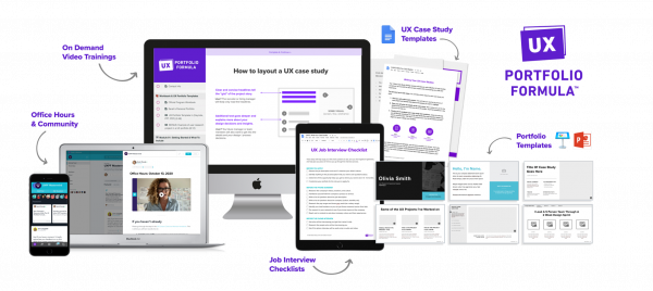 Mockups of the course, templates, and community for UX Portfolio Formula